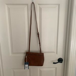 Faux brown leather crossbody